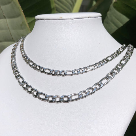 Silver Figaro Chain - 2 Width Options