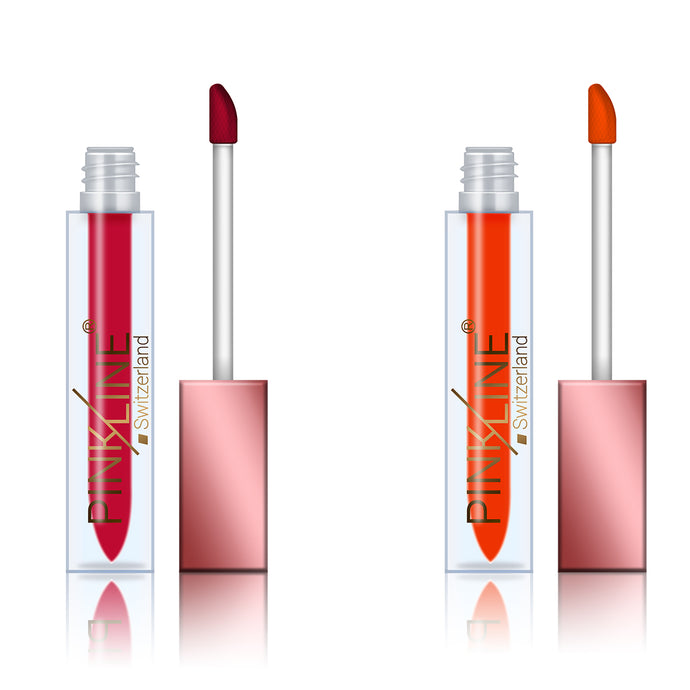 Pinkline Lip Locks Matte Lip Gloss combo of 2 Terminator,Plumpy, 12gm