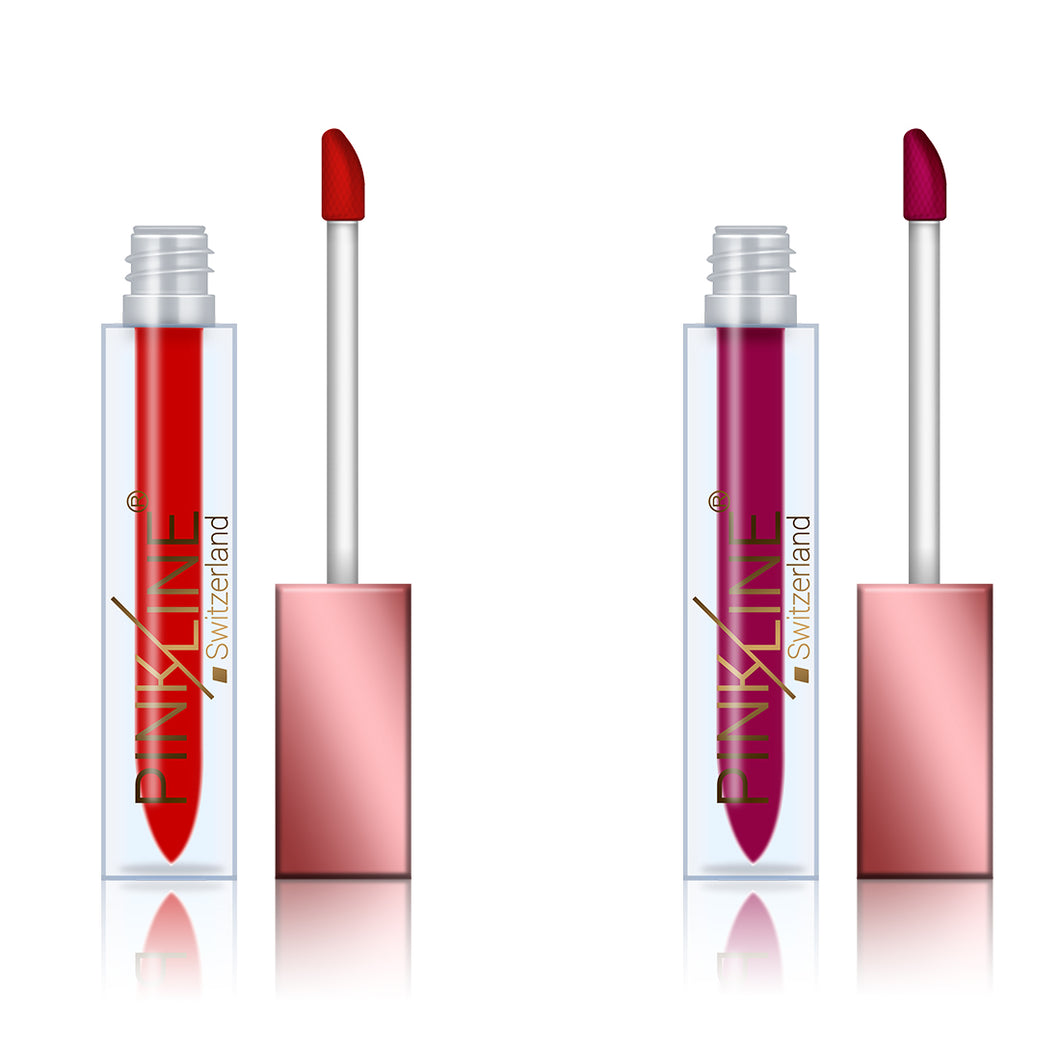 Pinkline Lip Plump Matte Lip Gloss Red Combo of 2  Hot Red,Ruby Red, 12gm