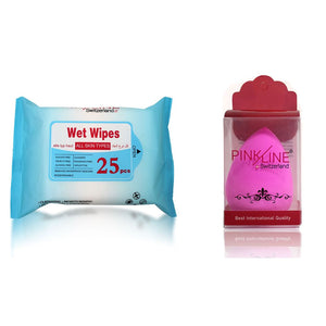 Wet wipes & Sponge combo pack of 6 3WET WIPES+3Puff