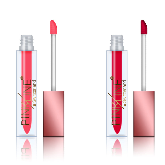 Pinkline Lip Plumper Matte Lip Gloss Combo of 2 Stylish,Lady Red, 12gm