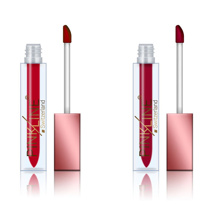 Pinkline Bold And Bright Matte Lip Gloss Red Combo of 2 Retro Red,Red Oxide, 12gm