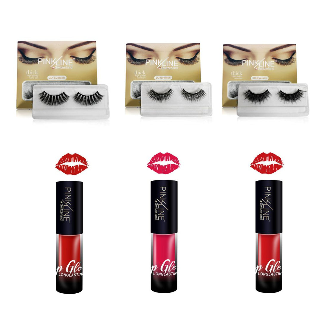 Pinkline 3D eyelashes & Long lasting matte Lipstick combo pack of 6 PL3D