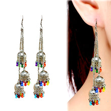 Load image into Gallery viewer, Silver Oxidized Metal Dangle Long Earrings for Women