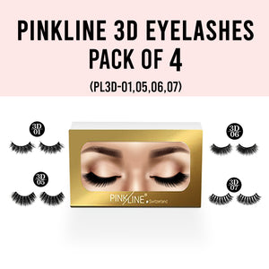 Pinkline 3D Eyelashes Pack of 4 (PL3D-01,05,06,07)
