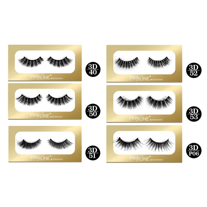 Pinkline 3D Eyelashes Pack of 6 (PL3D-40,50,51,52,53,P06)