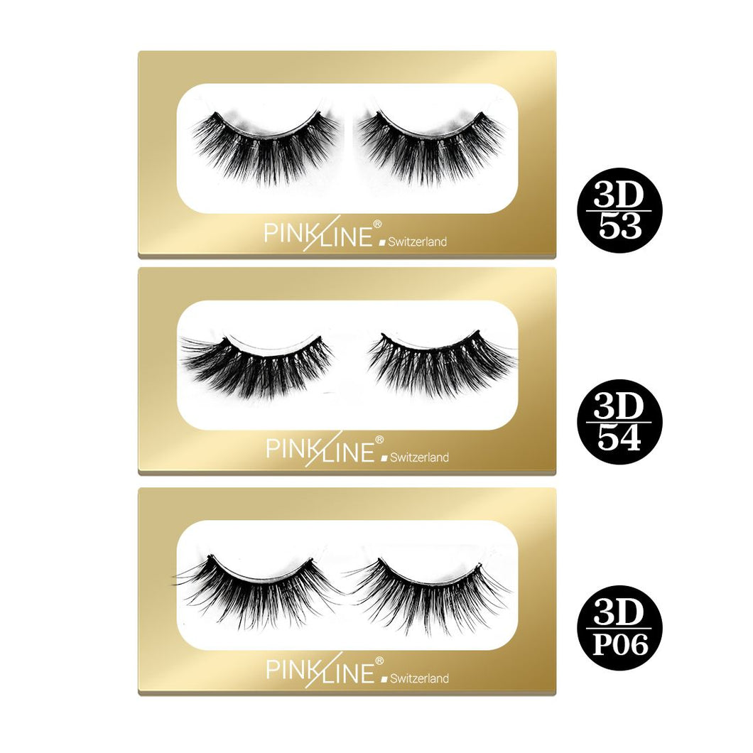 Pinkline 3D Eyelashes Pack of 3  (PL3D-53,54,P06)