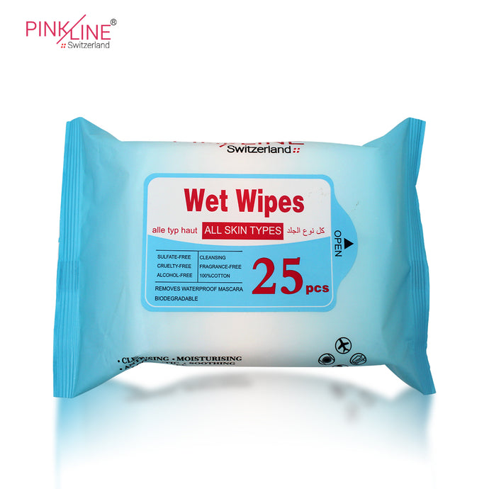 Wet Wipes All Skin Types sulfate free,Cleansing ,Cruelty free, Alcohol-Free,100% Cotton,136gm