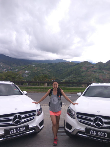 ash be nimble online sportswear founder hui mathews at the mercedes GLC 200 launch and roadtrip hungry for adventure in kota kinabalu
