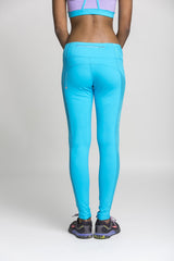 full length leggings - bright blue & mesh
