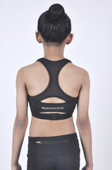 kids meshmerise racerback high support sports bra - black