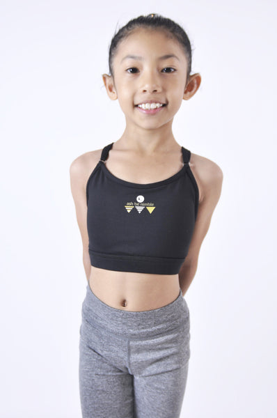 kids freedom adjustable low support sports bra - black