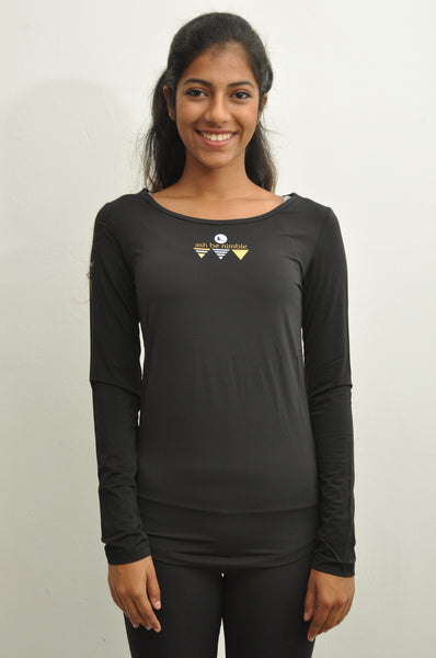 women's flyaway long sleeve top - black