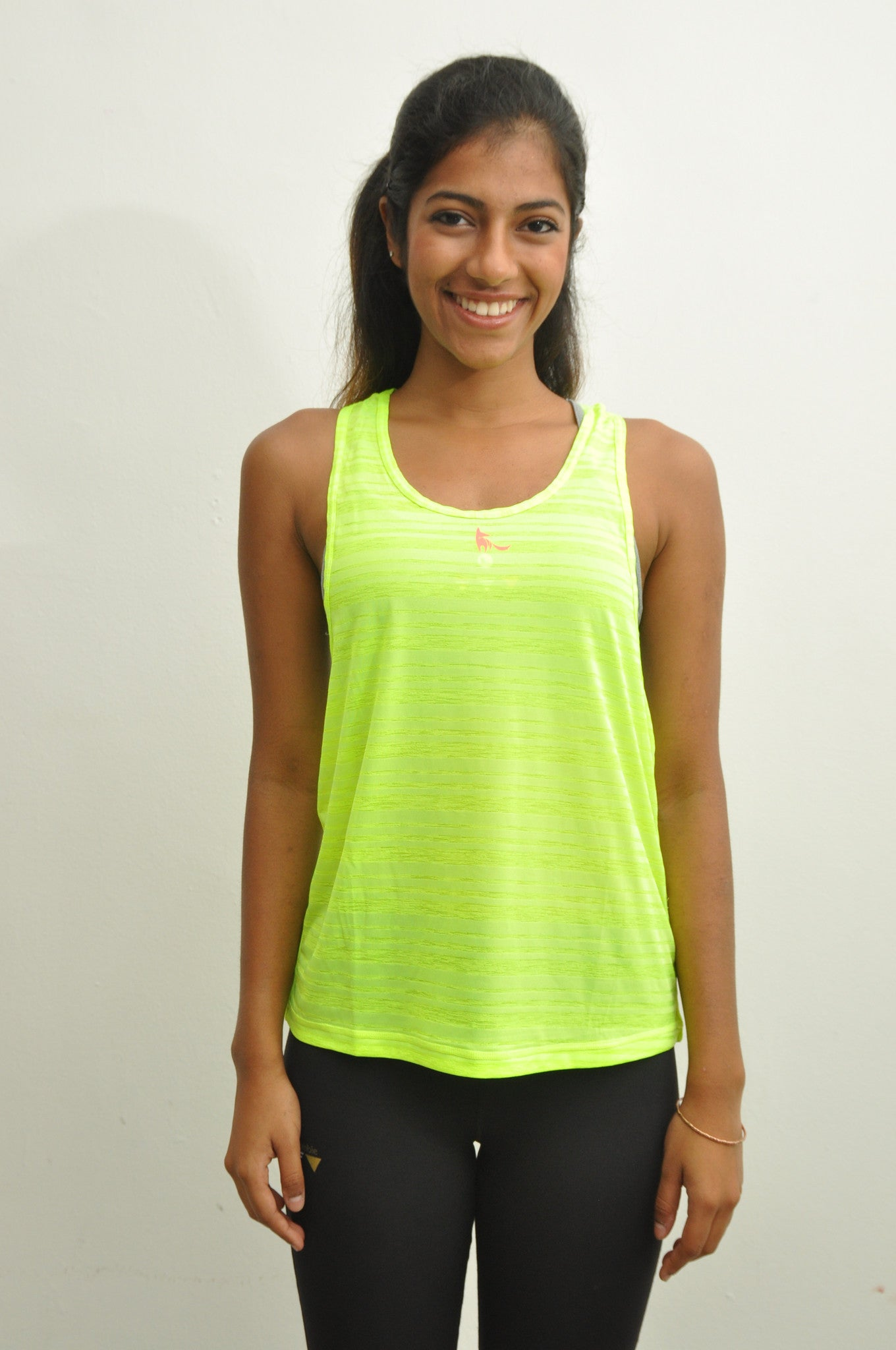 mesh-around loose tank top in neon yellow
