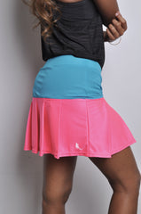 poppin' pleated skort - teal & fuschia