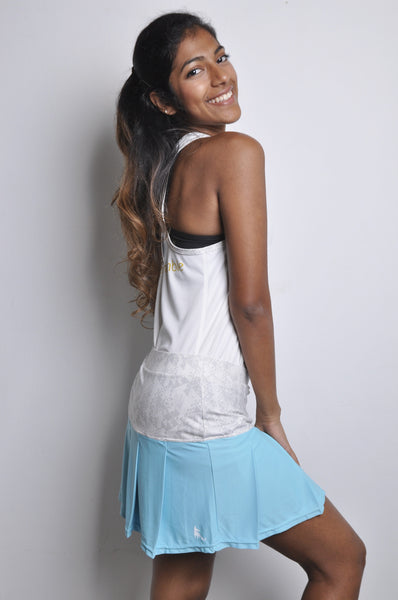 poppin' pleated skort - blue & tribal grey
