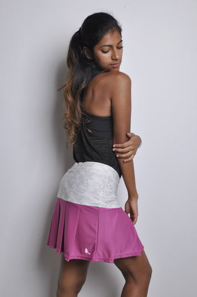 poppin' pleated skort - wine & tribal grey