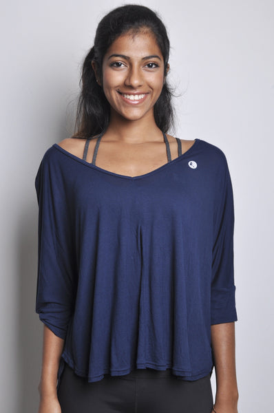 vera soft rayon top in navy