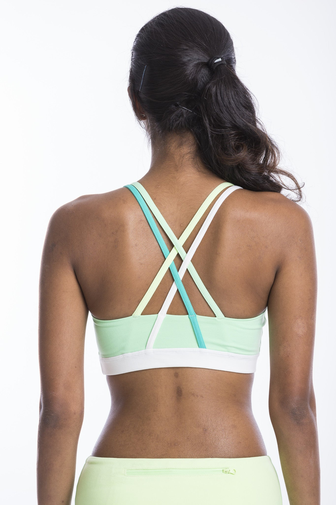 double cross back sports bra - mint and lime