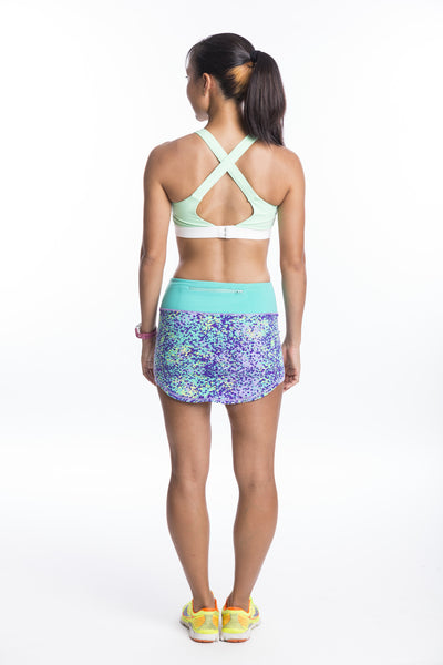 single cross back sports bra with clasp - light mint