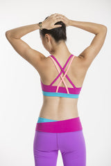 double cross back sports bra - sunday skies