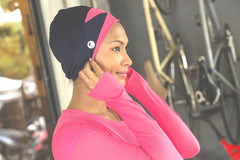 sports hijab - pixie in navy with pink mesh