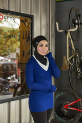 sports hijab - poise in black & blue mesh