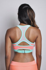 meshmerise racerback high support sports bra - melon crush