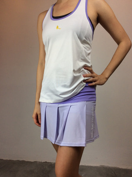 swingin' singlet - white with purple trim Y-back