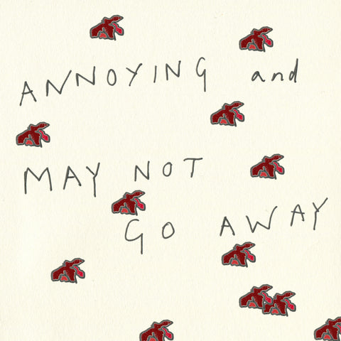 Square paper background with many reproductions of the line drawing of haemorrhoids from the previous panel. Text reads: 'ANNOYING and MAY NOT GO AWAY'