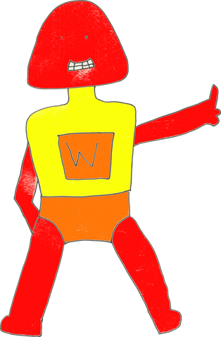 Front view of Captain Wassock. Captain Wassock is standing in a straight-legged stance, legs quite far apart. Captain Wassock's left arm (right as we look at it) is stuck straight out to the side and one of three visible appendages is extended, thumbs-up style. Captain Wassock's other arm is hanging down on the opposite side, bent at the elbow, hand hidden behind an upper leg. Legs, arms and helmet are coloured bright red. The helmet is a squished igloo shape like a bellend, with tiny eye holes, nothing for the nose, and teeth clenched in a forced smile. Captain Wassock's suit is yellow over broad, square shoulders and neck; on the chest is a big W in a wonky orange rectangle. The outfit is completed with large pants in the same orange colour.