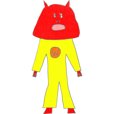 Front view of Captain Wassock. Captain Wassock is standing face-on to the camera in a bright red, yellow and orange suit, legs slightly splayed and arms hanging down awkwardly at a slight distance from Captain Wassock's waist. Captain Wassock has an oversize red helmet in the shape of a tea-cosy, with cat-like ears at the top and a gormless open-mouthed expression cut out for eyes, nose and mouth. The trouser legs of Captain Wassock's bright yellow suit are slightly flared, and Captain Wassock's footwear, which is bright red like the helmet and gloves, looks a bit like hooves. There is a big black W in an orange circle on Captain Wassock's chest.