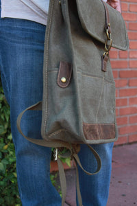 Flap Over Backpack - Military Green