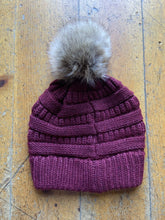 Load image into Gallery viewer, CC CC Beanies CC Beanie - Faux Fur Pom Pom - Burgundy