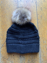 Load image into Gallery viewer, CC CC Beanies CC Beanie - Faux Fur Pom Pom - Heathered Black