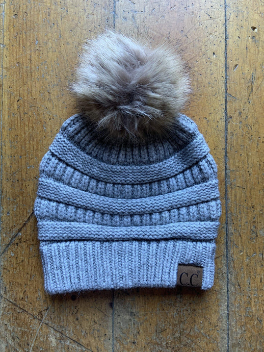 CC CC Beanies CC Beanie - Faux Fur Pom Pom - Light Grey
