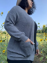 Load image into Gallery viewer, Sweater Cardigan With Pockets - Charcoal