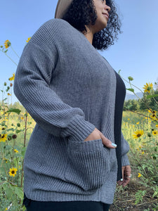 Sweater Cardigan With Pockets - Charcoal