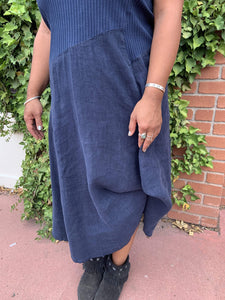 Ribbed Top Linen Dress