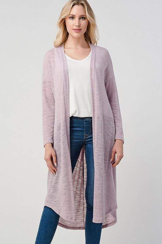 Heimious Knits Fashion Twist Back Midi Length Cardigan