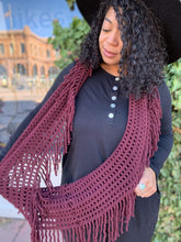 Load image into Gallery viewer, Leto Collection Scarves Lattice Knit Tassel Infinity Scarf - Burgundy