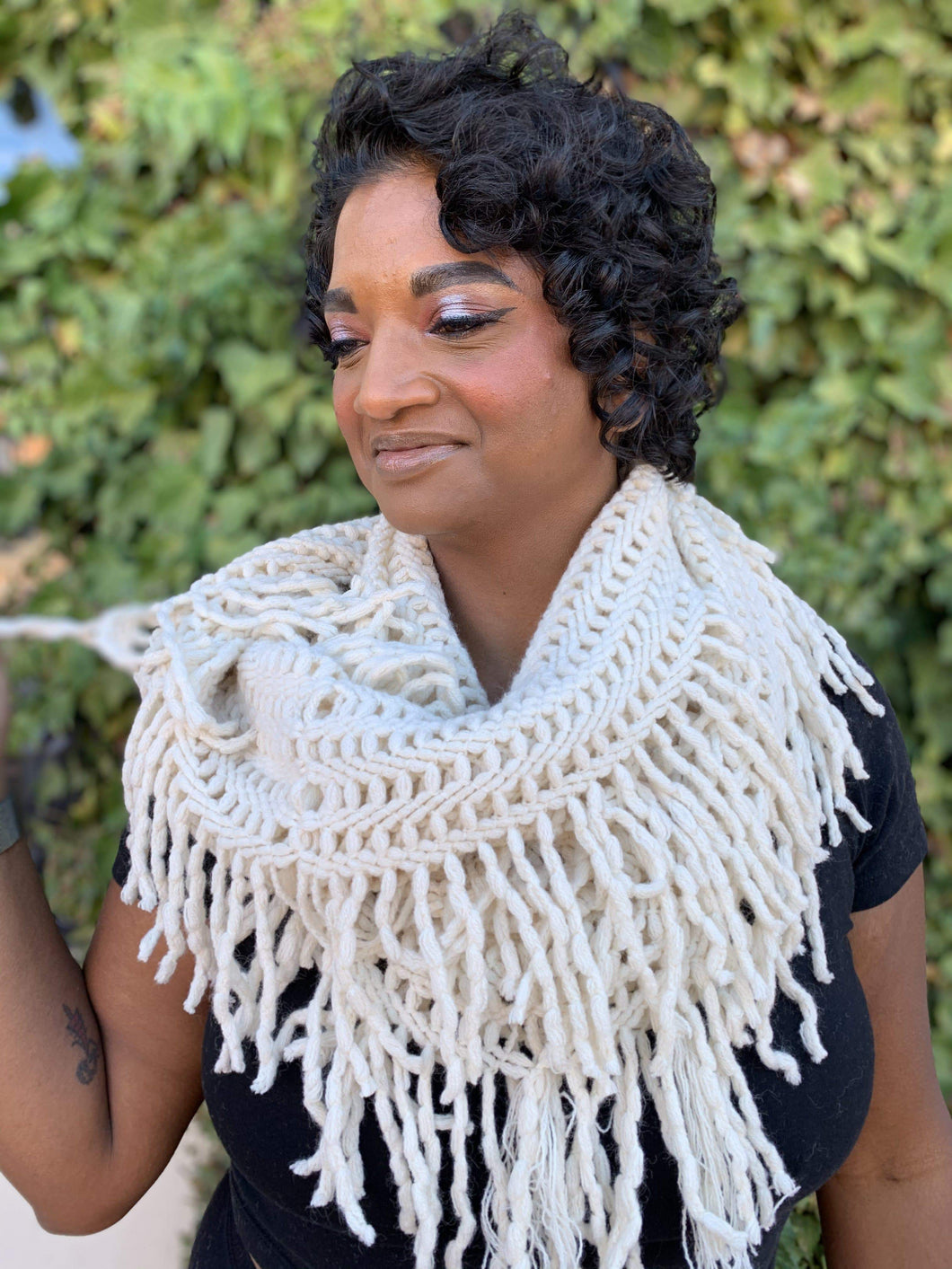 Leto Collection Scarves Lattice Knit Tassel Infinity Scarf - Ivory