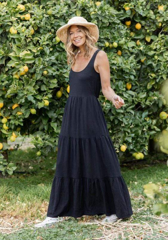 Love Stitch Dresses Tiered Maxi Tank Dress Black