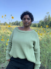 Load image into Gallery viewer, Ribbed Cotton Scoop Neck Pullover - Sage