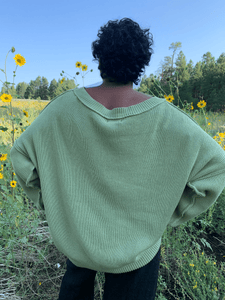 Ribbed Cotton Scoop Neck Pullover - Sage