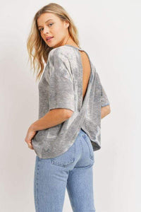 Not specified Knits Fashion Tie Dye Open Back Knit Top Grey
