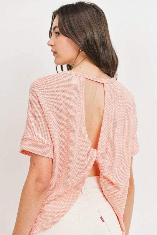 Paper Crane Knits Fashion Twisted Back Drop Shoulder Top