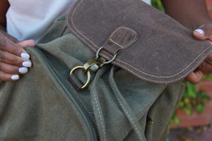 Flap Over Drawstring Bag With Clasp - Military Green