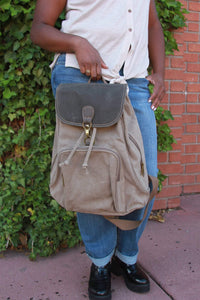 Flap Over Drawstring Bag With Clasp - Khaki