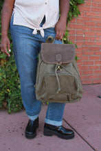 Load image into Gallery viewer, Flap Over Drawstring Bag With Clasp - Military Green